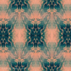 Peach and teal collection pattern 02. Layered abstract motifs in teal on peach background.