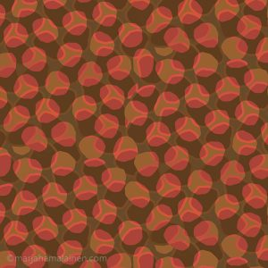 Sedimentation_003.Layered , orange, and brown round shapes on brown background.