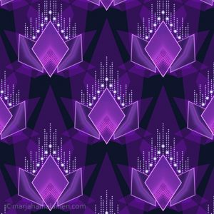 Shanghai twilight 03. Geometric pattern in shades of purple and dark blue.